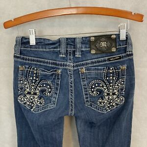 Miss Me Women Jeans Tag Size 27 Boot Blue Denim Whiskered Studs Rhinestones