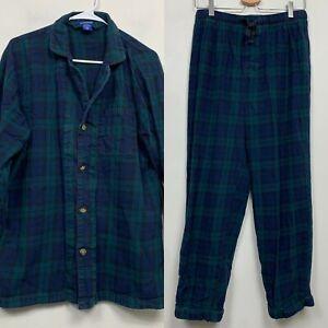 Pendleton Green Navy Plaid 100% Cotton Flannel 2 Piece Pajama Set Mens Size M