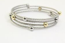 Philippe Charriol 18K Gold Beads and Stainless Steel Wrap Bracelet 6-7""
