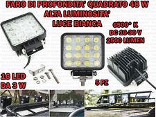 5 FARI PROFONDITA' QUADRATI LED 48W 6000°K AUTO FUORISTRADA CAMPER BARCHE IP68