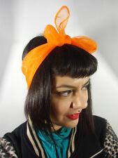 Foulard cheveux fin tulle mousseline transparente chiffon carré orange pinup