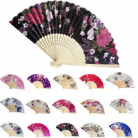 Vintage Bamboo Folding Hand Held Flower Fan Chinese Dance Party Pocket Gifts 1PC