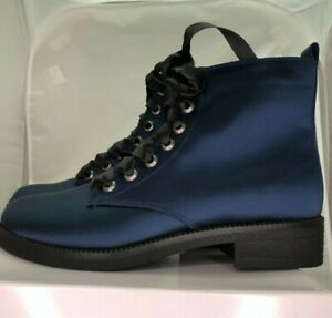 Combat Boots Blue Satin Lace Up Size 39 Dirty Laundry Never Worn