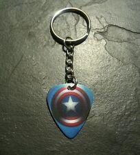 Captian America Guitar Pick Key Chain Ring Comic Book Memorabilia Gift Present