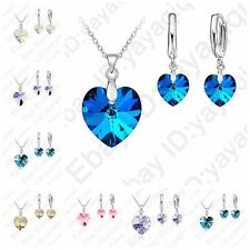 Romantic Austrian Crystal Ocean Heart Pendant Jewelry Sets Necklace Earring Sets