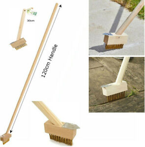 Patio Weed Wire Brush with Scraper Block Paving Decking Moss Weed Removal Garden