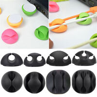 10x Cable Clip Desk Tidy Winder Organizer Phone Wire USB Charger Lead Fixings