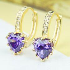 """18K Yellow Gold """"Full Heart"""" CZ Crystal Earrings Jewelry Purple Clear Black"""