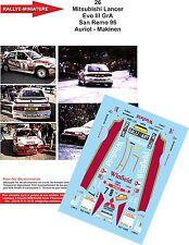 DECALS 1/18 REF 26 MITSUBISHI LANCER TOMMI MAKINEN RALLYE ITALIA SAN REMO 1996