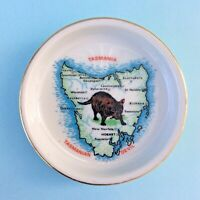 Vintage Trinket Pin Dish Westminster Fine China Tasmania Map Tasmanian Devil