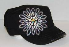 New Rhinestone Flower Cadet by Olive & Pique - Black w/AB Stones