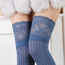 Women Girl Thigh High Stripe Lace up Stockings Hosiery Pantyhose Tights Socks
