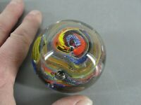 """ART GLASS PAPERWEIGHT MULTI COLORED SWIRLED MELTED LAVA PATTERN 2-1/2"""" VINTAGE"""