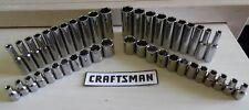 "Craftsman 44 pc 1/4"" Drive 6 pt DEEP + STD SAE/METRIC Socket Sets"