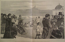 FRENCH REFUGES ON THE TERRACE OF ST GERMAINS WATCHING PARIS HARPER'S WEEKLY 1871