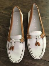 Geox Womens Leather Loafers White And Tan Shoes Size 38 US 8