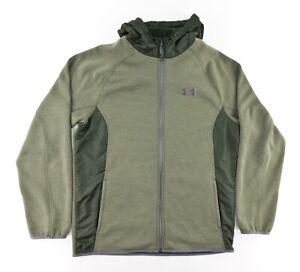 Under Armour Mens Large Coldgear Loose Full Zip Hoody Fleece Lined Jacket Green