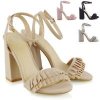 Womens Strappy Open Toe High Heel Sandals Ladies Ruffle Buckle Strap Party Shoes