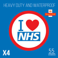 I Love The NHS - 55mm Heart sticker - Support UK National Health Service