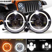 "7"" Halo Angel Eye LED Projector High Low Headlight BLACK for 07-16 Jeep Wrangler"