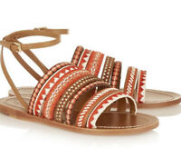 TORY BURCH POPPY ORANGE TAN RED MULTI FLAT SANDAL MIXED TRIMS SIZE 8.5