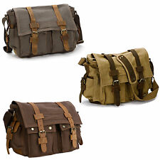 Mens Bag Military Canvas Leather Satchel Messenger Crossbody Travel School Bag