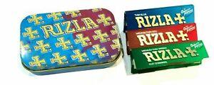 RIZLA TOBACCO TIN  1oz with RIZLA Regular Rolling Papers Genuine Rizla Product