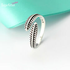 925 Sterling Silver Retro Angel Feather Leaf  Knuckle Open Band Adjustable Ring