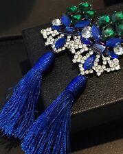 "Bold Blue & Green Long Fringe Tassel Trendy Fashion Summer Earrings 6"" Long"