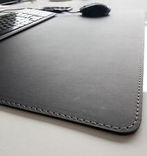 Schreibtischunterlage Soft Lux Leder 70 x 50 Schwarz mit Silbergrauer Naht