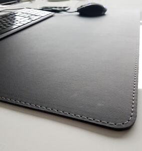 PM Schreibtischunterlage sanft lux Leder 60 x 40 Schwarz mit Silbergrauer Naht