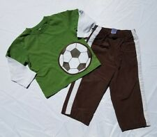 Gymboree Boys Shirt Pants Set Athletic Size 2T Soccer Star Vintage Green