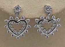 18K White Gold Filled Topaz Zircon Floral Big Heart Plated Ear Stud Earrings DS