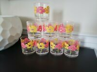 Set of Eight (8) Vintage 1960s - 1970s Flower Plastic Tumbler Cups