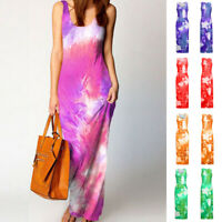 Women's Summer Sleeveless Tie-dye Tank Dress Casual Long Maxi Party Beach Dress
