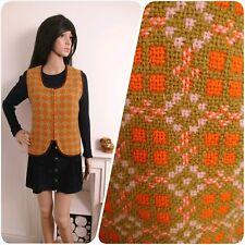 Vintage 60s Orange Welsh Tapestry Geo Zip Reseta Wool Waistcoat M 12 14 40
