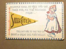 Sioux City, Iowa Felt Pennant Postmarked 1917