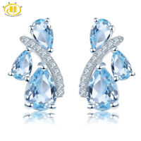Pear Natural Gemstone Blue Topaz Stud Earrings 925 Sterling Silver Women's Gifts