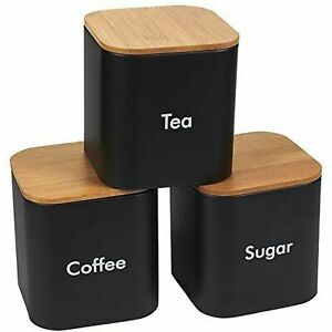Kitchen Canister Set of 3, Coffee, Sugar, Tea Storage Container with Bamboo Lids