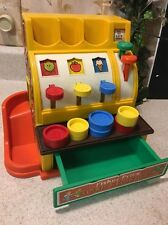 VINTAGE FISHER PRICE 1974 PRETEND PLAY MONEY CASH REGISTER With 6 PLAY COINS LOT