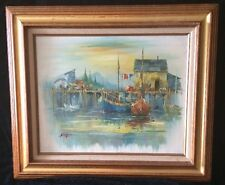 Boats At The Harbor Oil Painting on Canvas By A. Simpson With COA, Beautiful