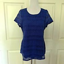 LEO NICOLE BLUE LACE LAYERED TOP / TEE / BLOUSE - SMALL - NEW