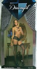 Dreamgirl Fishnet Thigh High Stockings w/ Lace Top Style 0006 Black Nylon New
