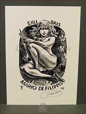 EROTICA - Ex-Libris Originale Firmato FRANK IVO 325 Mario De Filippis