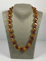 Vintage Statement Necklace Collar Length Graduated Faux Amber Beads Barrel Clasp