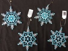 4 x Turquoise Blue & Silver Snowflakes Christmas Baubles Tree Hangers Decoration