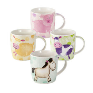 Animal Mugs Cups Set 4 Coffee TeaPorcelain China Pig Sheep Cow Horse Farm Gifts