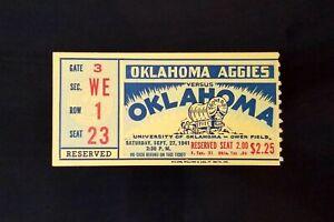 1941 Oklahoma Sooners vs Aggies College Football Ticket Owen Field VTG EX Cond
