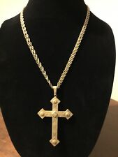 "VTG MIRIAM HASKELL Necklace Large Russian Reversible CROSS 21"" Double Chain"