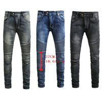 Men's Stretch Denim Pants Straight Slim Work Biker Trousers Skinny Ripped Jeans